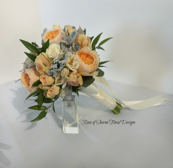 Hand-Tied Bouquet with Garden Roses, Tulips, and Dusty Miller, Rose of Sharon Floral Designs
