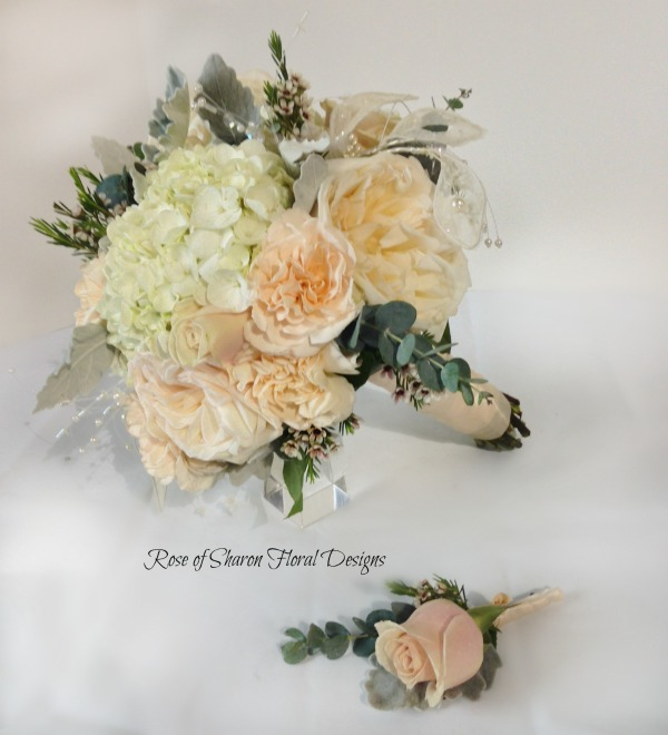 Bouquet and Boutonniere featuring Roses, Rose of Sharon Floral Designs