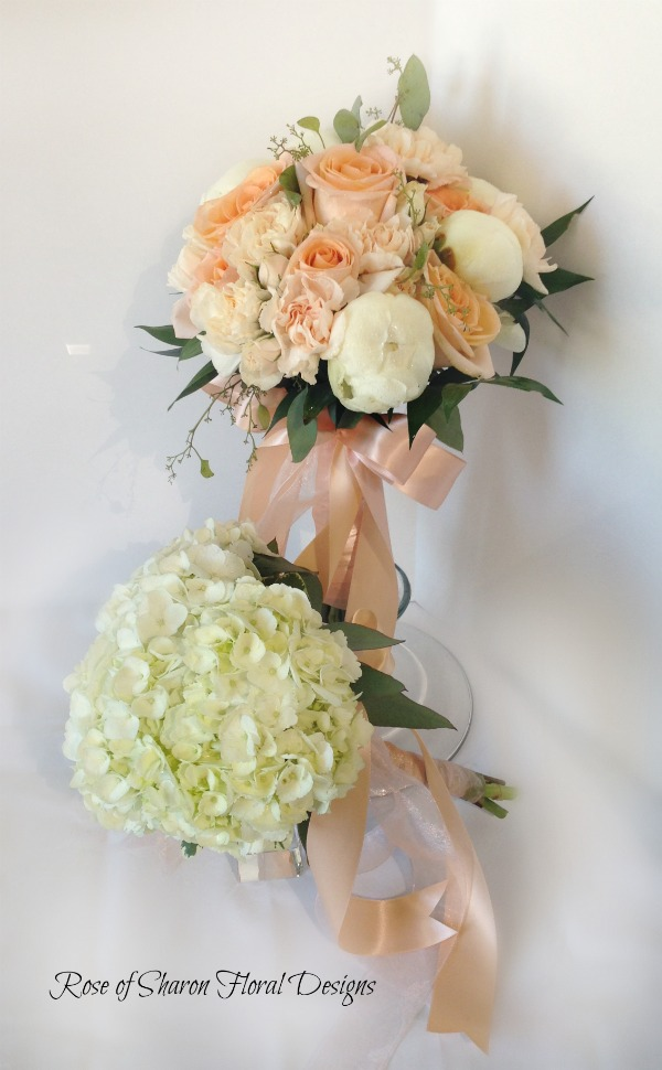 Hand-Tied Bouquets featuring Roses, Peonies and Hydrangeas, Rose of Sharon Floral Designs