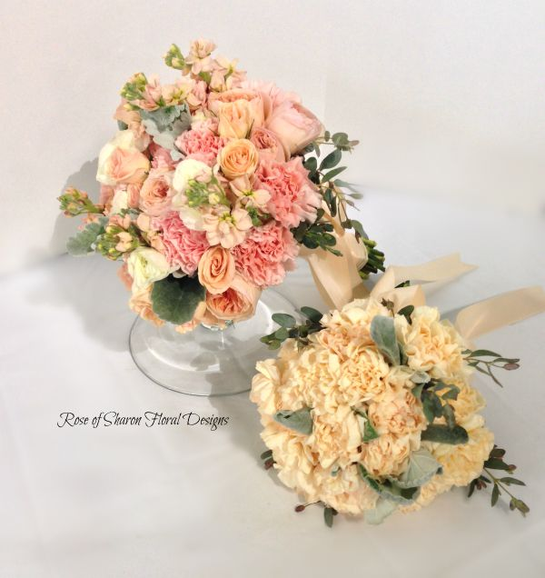 Hand-Tied Bouquets with Roses and Carnations, Rose of Sharon Floral Designs