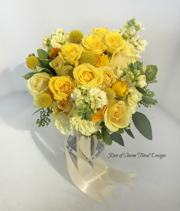 Close up: yellow rose bouquet with stock & billy balls. Rose of Sharon Floral Designs