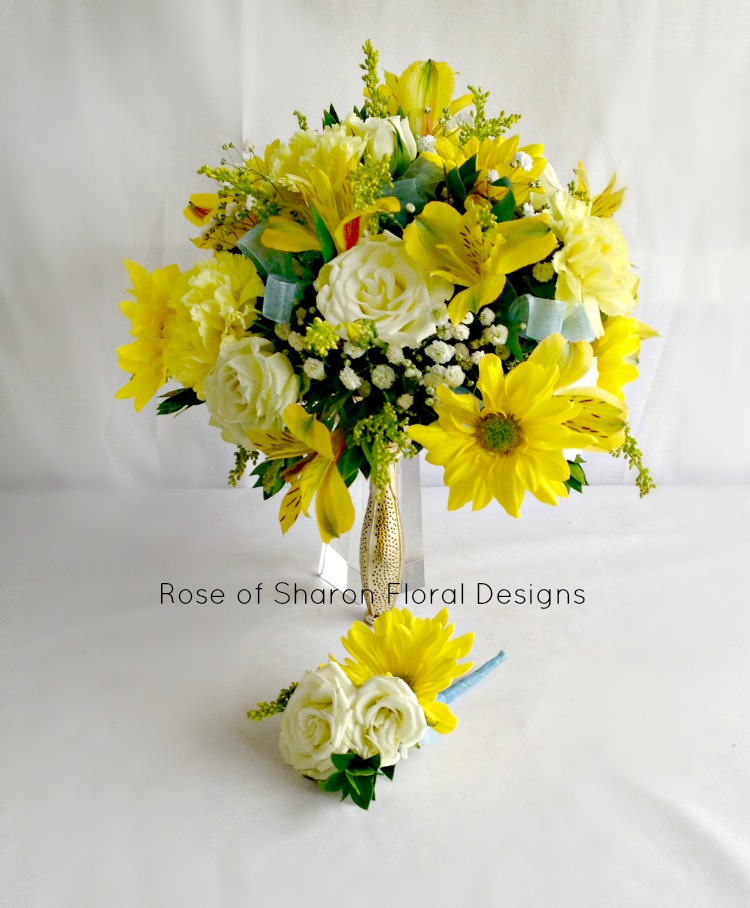 Yellow daisy & spray rose bouquet. Rose of Sharon Floral Designs