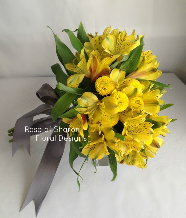 Yellow Alstroemeria and button mum bouquet. Rose of Sharon Floral Designs