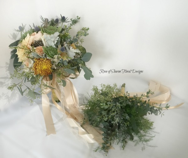 Organic Fall Bouquets. Mums, Dahlias & Mixed Foliages. Rose of Sharon Floral Designs