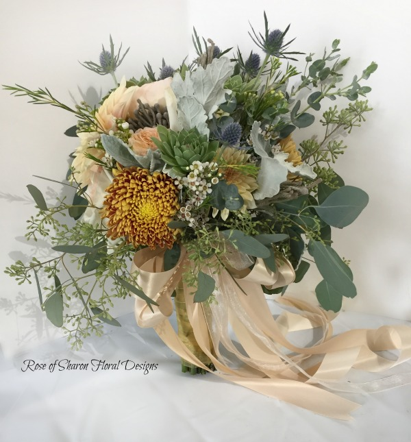 Organic Bouquet with Gold Mums, Dahlias, Eryngium & Eucalyptus. Rose of Sharon Floral Designs