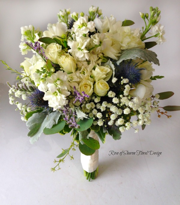 Blue and Cream Hand-Tied Organic Bouquet with Stock, Roses, Baby's Breath and Thistle. Rose of Sharon Floral Designs
