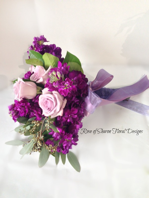 Purple stock & rose bouquet. Rose of Sharon Floral Designs