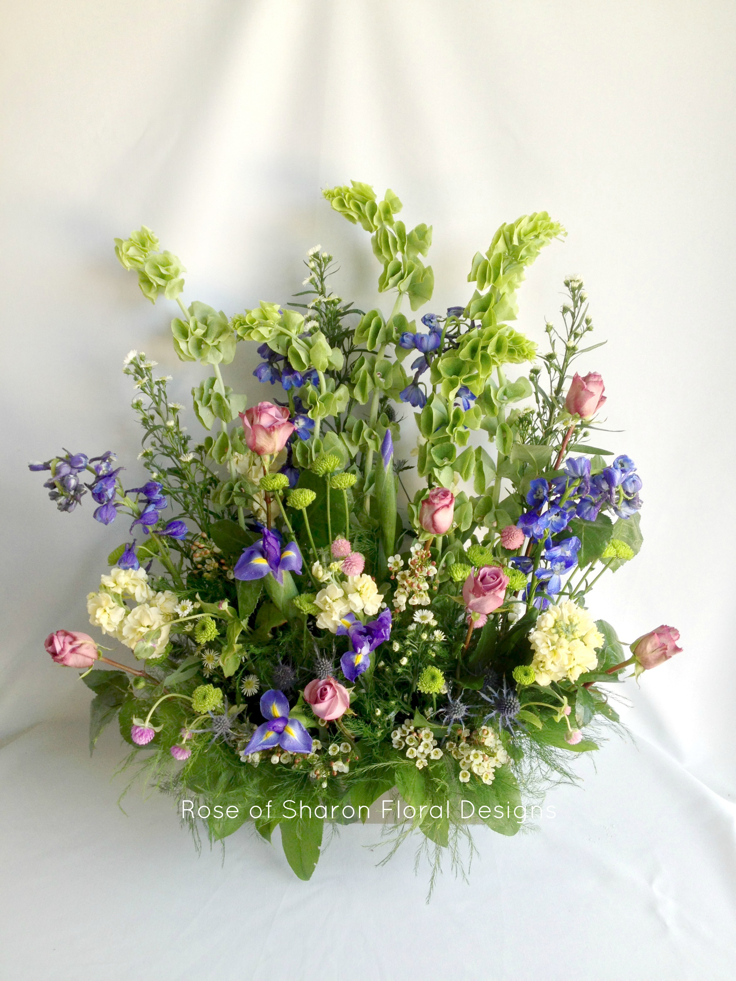 Blue & Purple summer urn accent arrangement