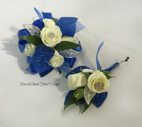 Royal blue corsage & boutonniee