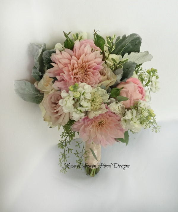 Hand-Tied Bouquet featuring Dahlias, Roses, Scabiosa, and Stock, Rose of Sharon Floral Designs
