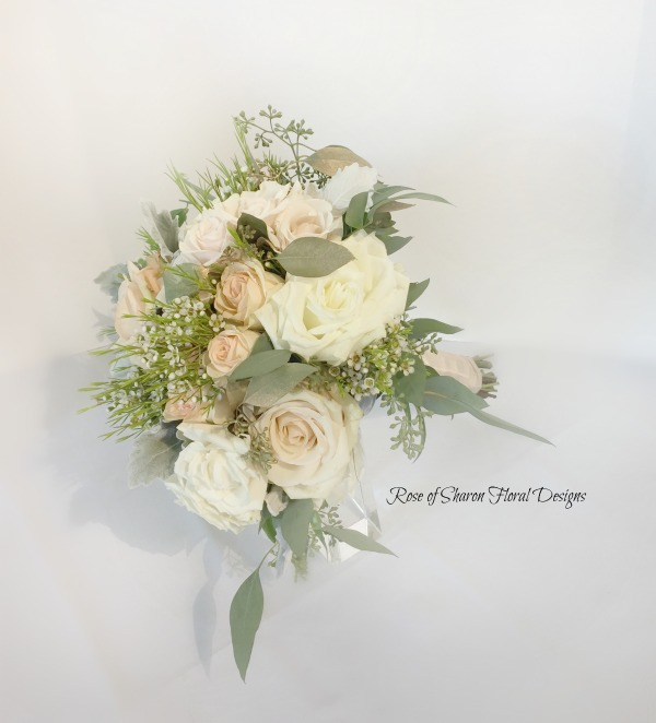Garden Bouquet with Roses, Wax Flower, and Eucalyptus, Rose of Sharon Floral Designs