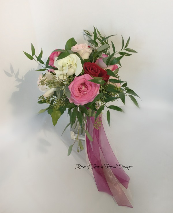 Small Hand-Tied Bouquet with Roses and Italian Ruscus, Rose of Sharon Floral Designs