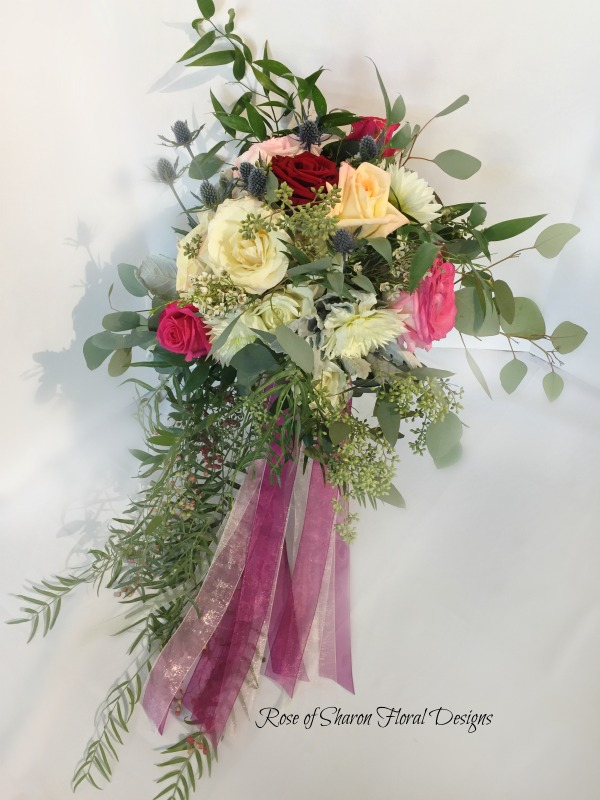 Natural Cascade, Garden Bouquet featuring Roses, Eryngium, and Greenery, Rose of Sharon Floral Designs