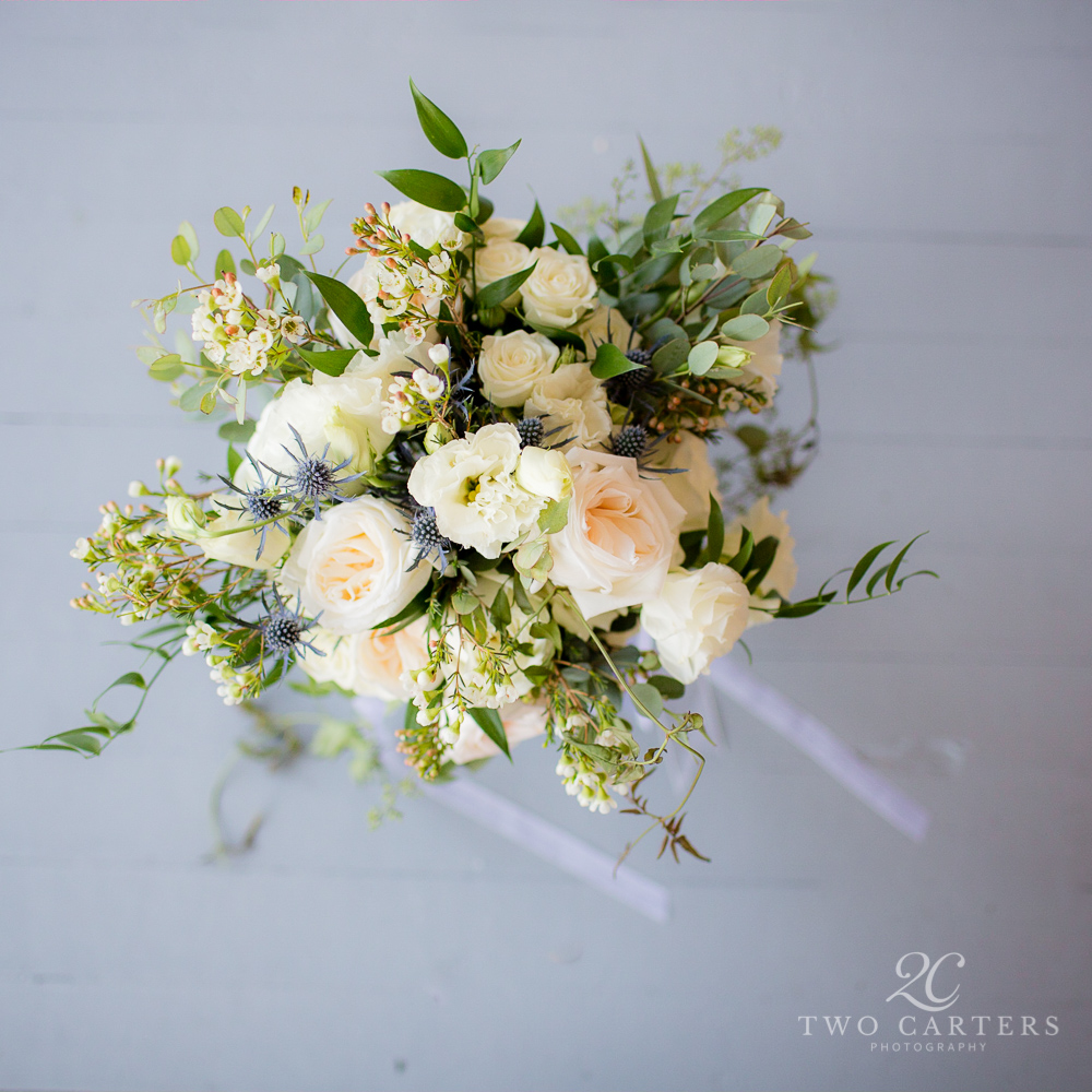 Pink and White. Garden Bouquet featuring Garden Roses, Wax Flower, Lisianthus, Eucalyptus and Eryngium, Rose of Sharon Floral Designs