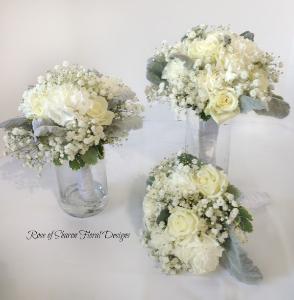 White Round Bouquets. Roses, Carnations, Baby's Breath, and Dusty Miller. Rose of Sharon Floral Designs