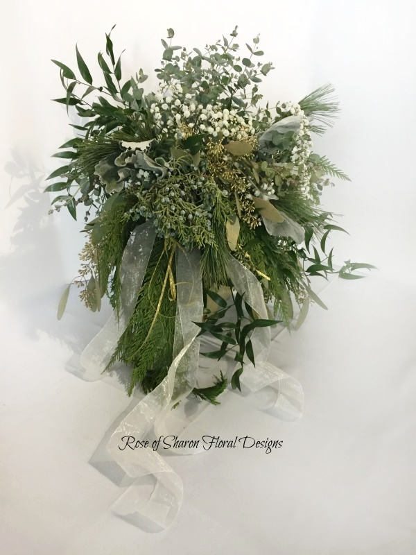 Organic Mixed Foliage Bouquet with Baby's Breath. Rose of Sharon Floral Designs