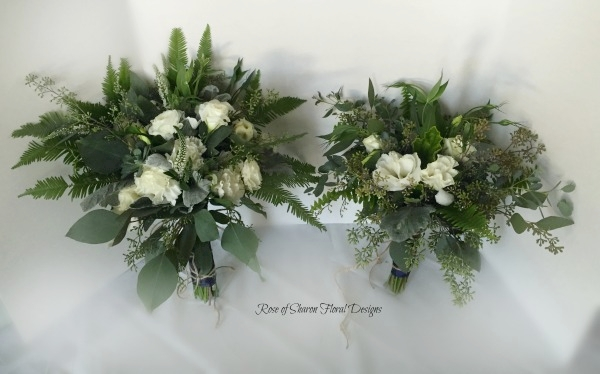 Organic Bride and Bridesmaid Bouquets. White Roses, Carnations, Ferns & Eucalyptus. Rose of Sharon Floral Designs