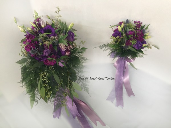 Purple organic cascading bouquet. Rose of Sharon Floral Designs