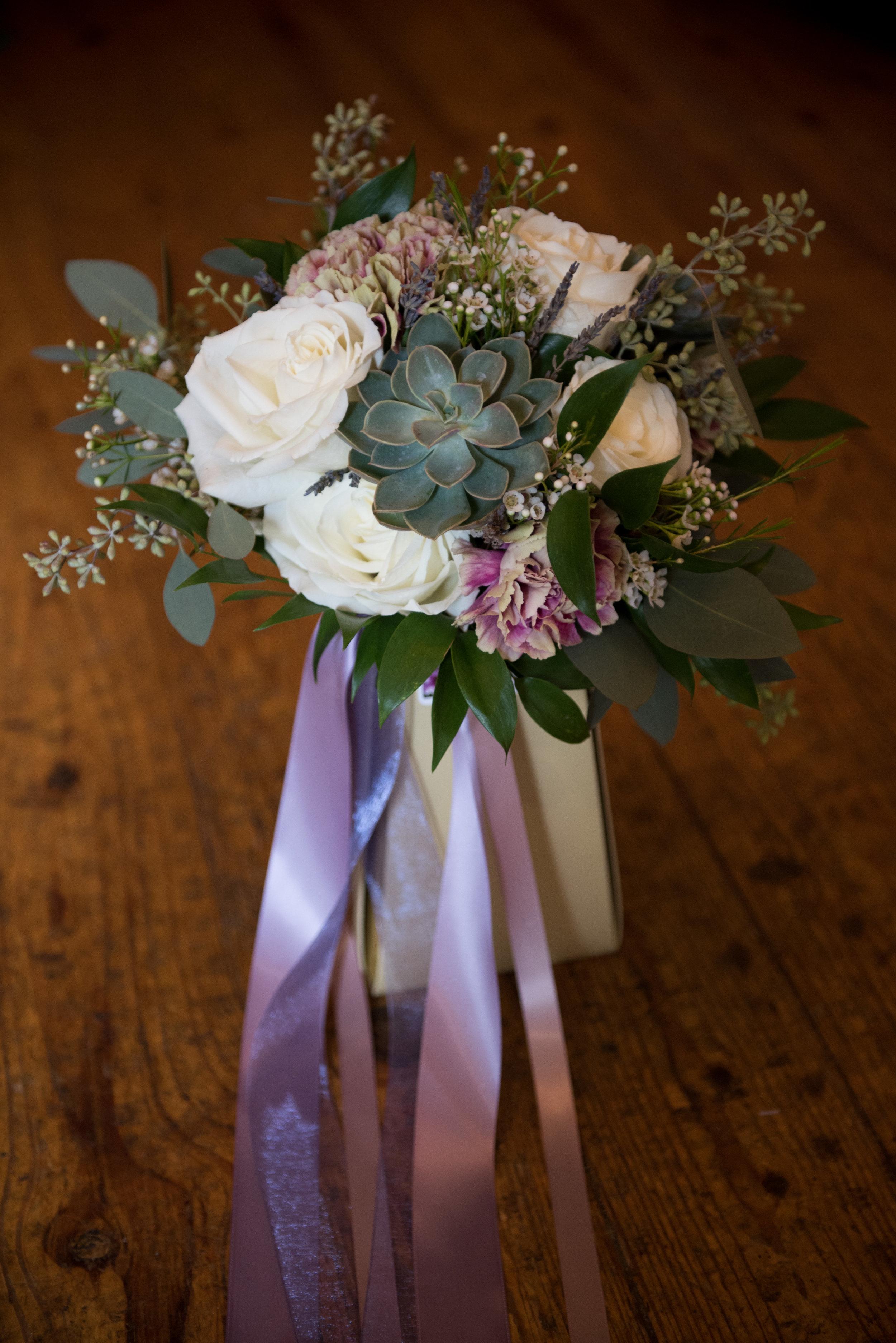 Succulent, rose & antique carnation bouquet. Rose of Sharon Floral Designs