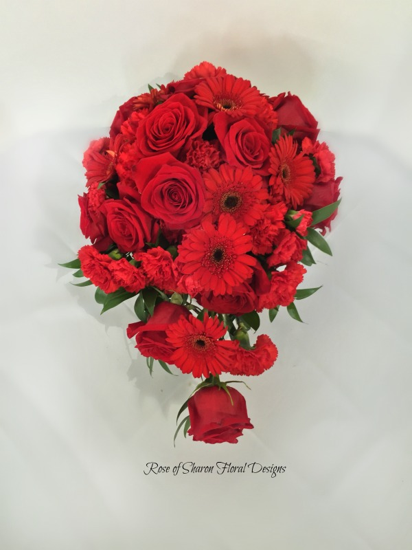 Red rose & gerbera daisy teardrop cascade. Rose of Sharon Floral Designs