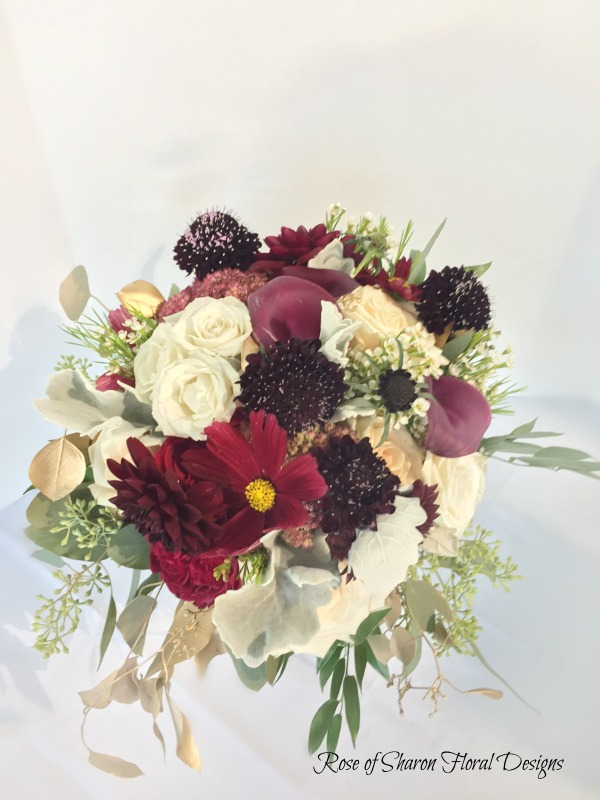 Semi-organic blush & burgundy bouquet with roses, cosmos, dahlias & scabiosa. Rose of Sharon Floral Designs