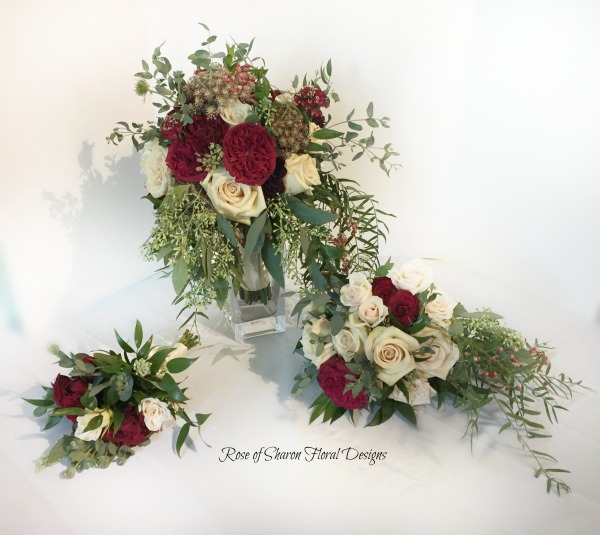 Organic blush & burgundy cascading bouquets with roses, pepperberries & eucalyptus. Rose of Sharon Floral Designs