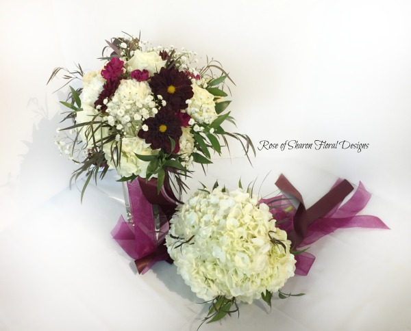 Burgundy & white semi-organic bouquet with carnations, dahlias & foliage. Hydrangea bridesmaid bouquet. Rose of Sharon Floral Designs