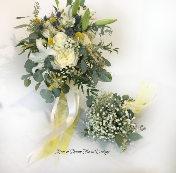 Semi-organic yellow & white bouquet with lilies, garden roses, billy balls & eucalyptus. Rose of Sharon Floral Designs