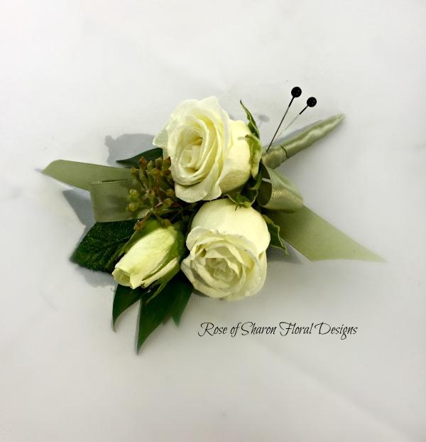 Black & Green Boutonniere - white roses.jpg