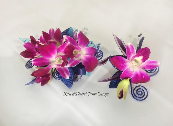 Corsage-boutonniere set - purple orchids..jpg