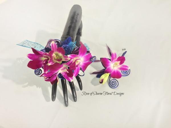 Corsage-boutonniere set - purple orchids.jpg