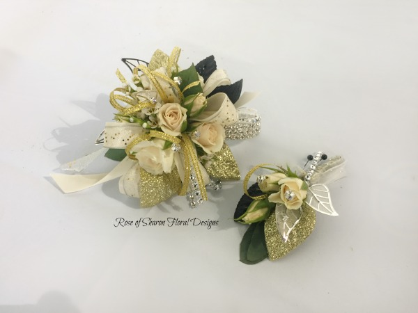 Gold Corsage-boutonniere set - white roses.jpg