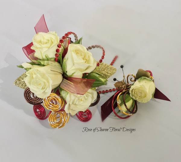 Red & brown Corsage-boutonniere set - white roses.jpg