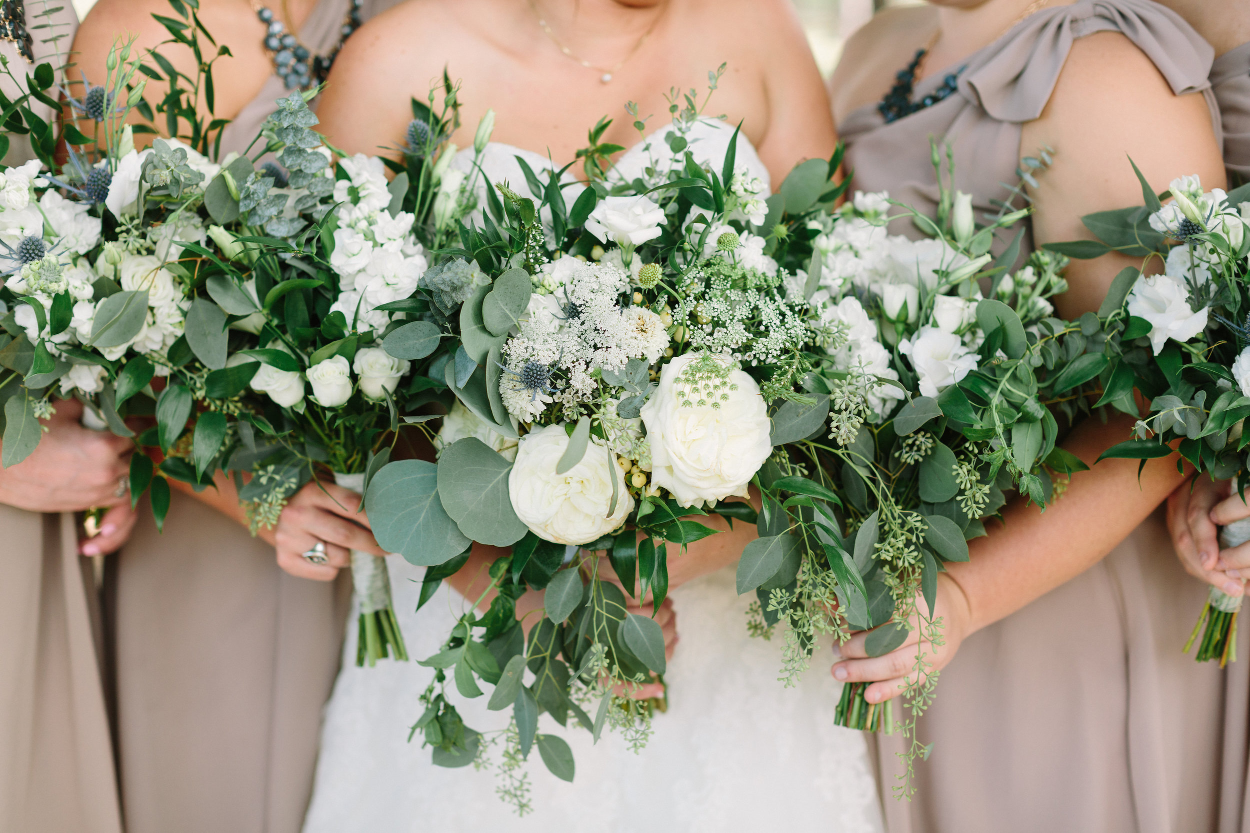 Green & white organic bouquets. Garden Roses, eucalyptus.  Stone Chapel at Matt Lane Farm. Erin WIlson Photography. Rose of Sharon Floral Designs.