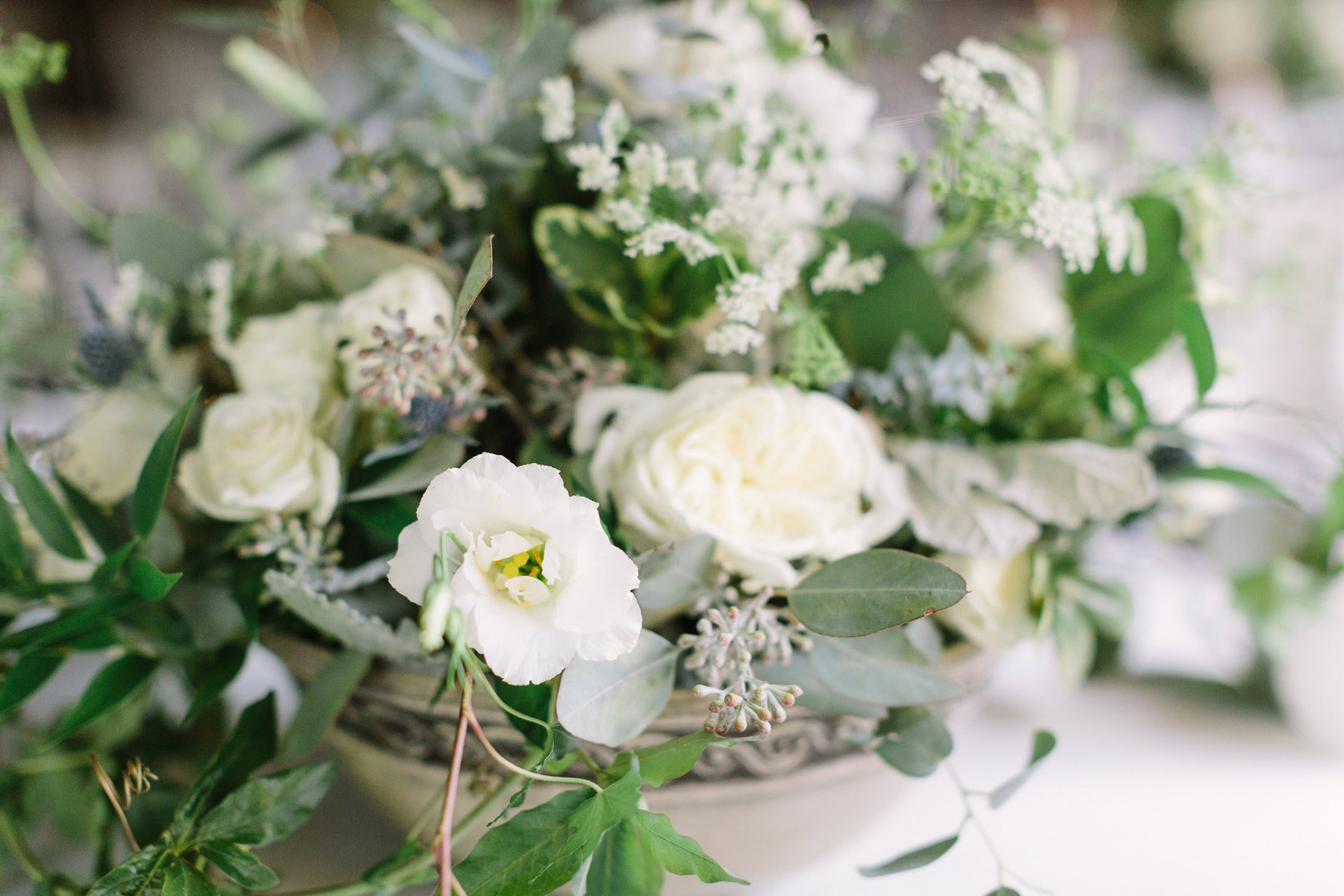 13. Green & white organic centerpiece. Stone Chapel at Matt Lane Farm. Erin WIlson Photography. Rose of Sharon Floral Designs..jpg