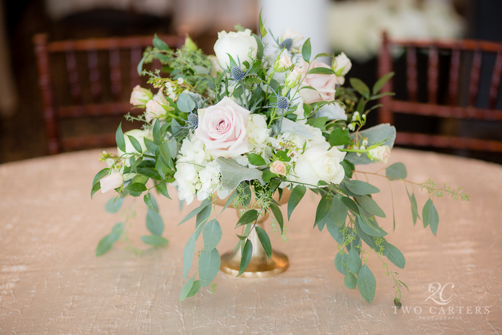 06. Organic blush garden rose centerpice. Compote Centerpiece. Inn at Carnall Hall. Two Carters Photography. Rose of Sharon Floral Designs..jpg