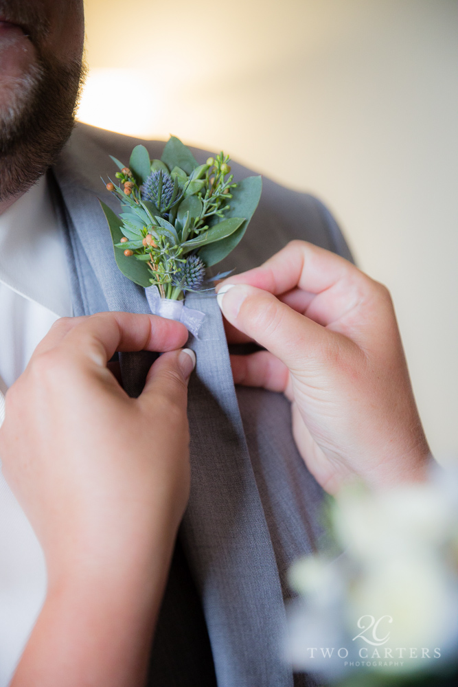 08. eryngium & eucalyptus boutonniere. Two Carters Photography. Rose of Sharon Floral Designs..jpg