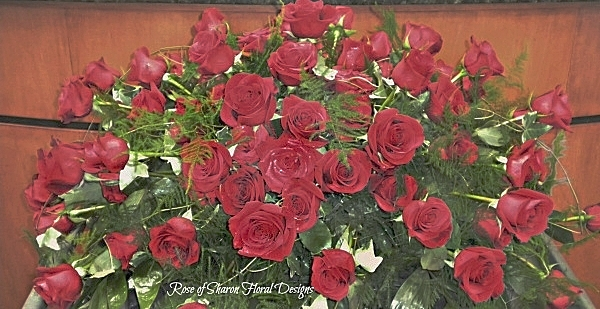 80 Red Rose casket spray