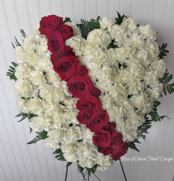 White filled heart with red rose accent