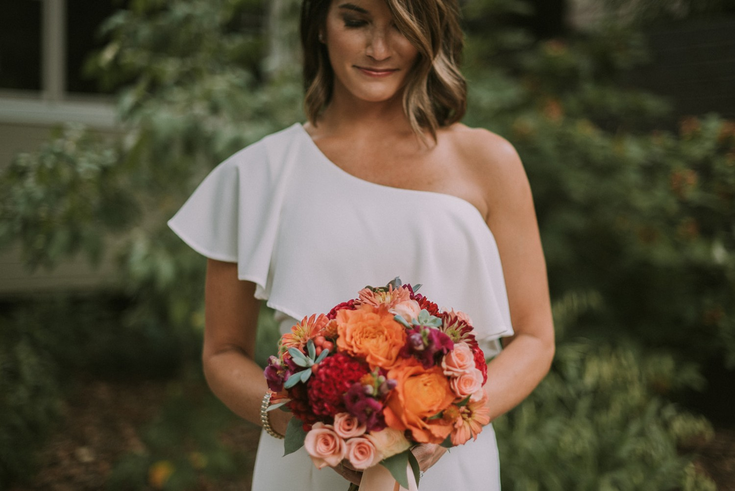 Vibrant Backyard Wedding Bouquet, Rose of Sharon Floral Design Studio, Fayetteville, Arkansas