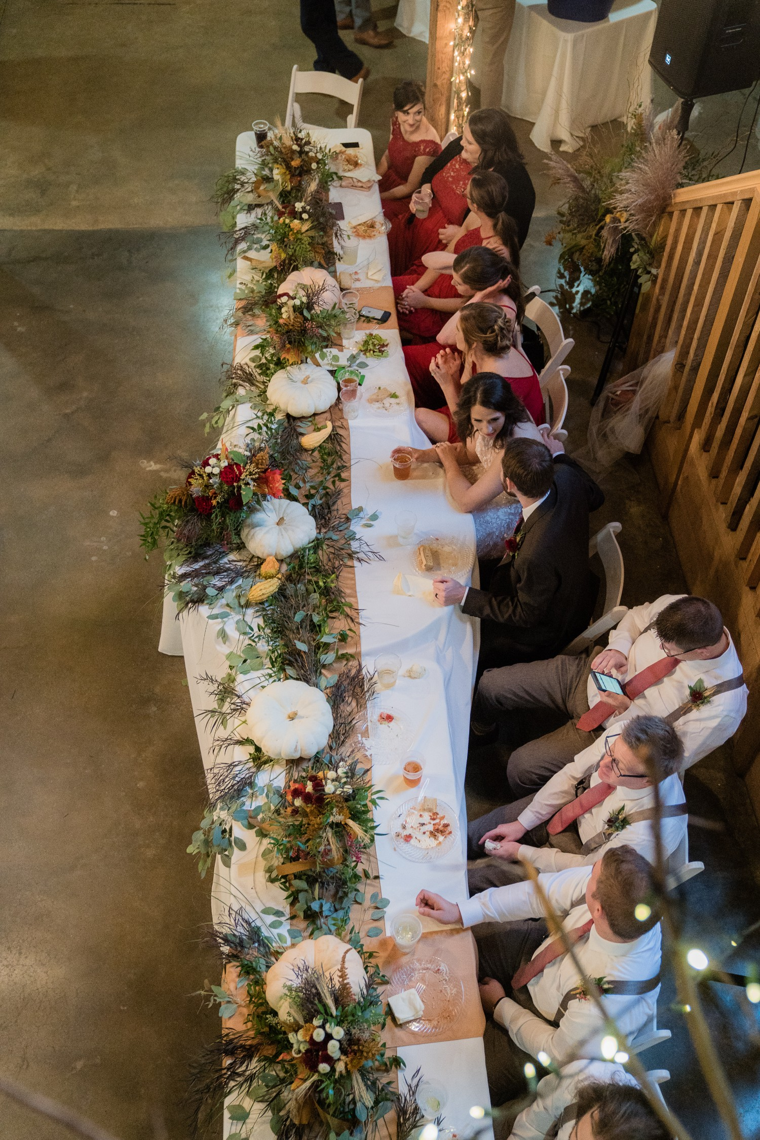 Fall Wedding at Pratt Place Organic Reception Decor, Rose of Sharon Floral Designs, Fayetteville, AR