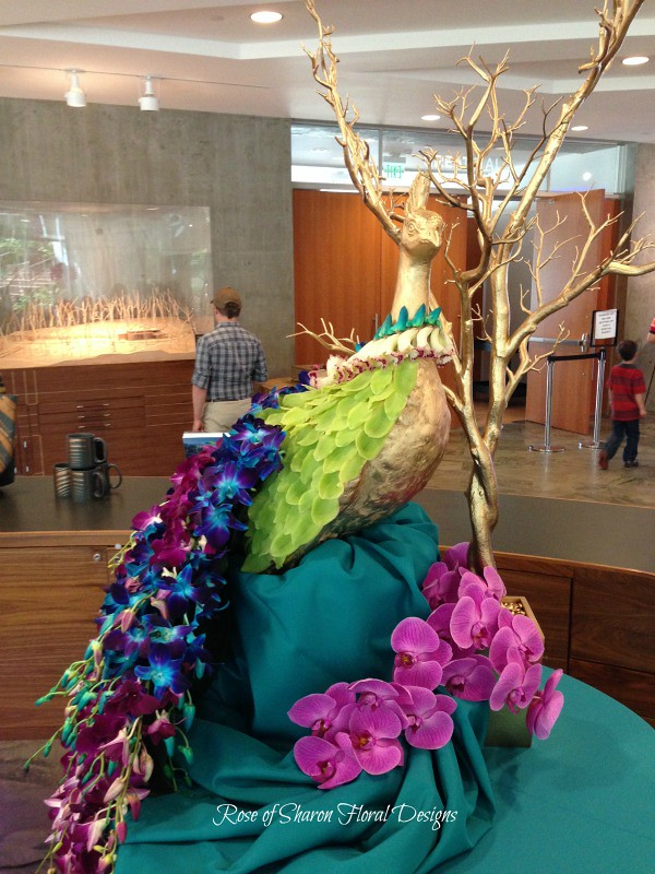 Oh, and here's a peackcok we made with orchids….because it was just COOL to make this!