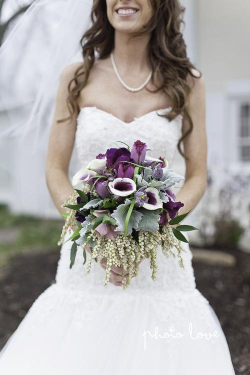 Purple Spring Woodland Wedding Bridal Bouquet at Avondale Chapel by Rose Of Sharon Floral Design Studio, Fayetteville Arkansas