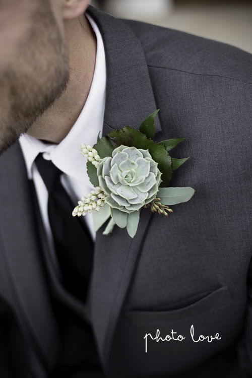 Purple Spring Woodland Wedding at Avondale Chapel Succulent Boutonniere — Rose Of Sharon Floral Design Studio, Fayetteville Arkansas