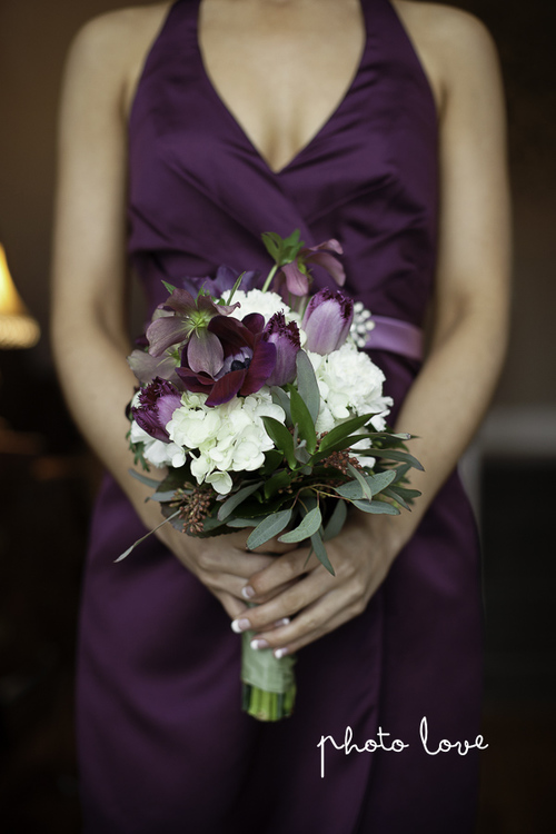 Purple Spring Woodland Wedding at Avondale Chapel Bridesmaids Bouquet— Rose Of Sharon Floral Design Studio, Fayetteville Arkansas