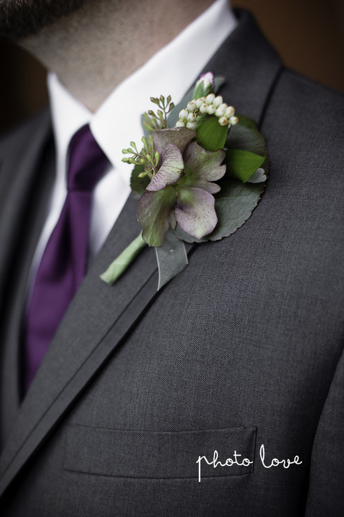 Purple Spring Woodland Wedding at Avondale Chapel Groomsmen Boutonniere— Rose Of Sharon Floral Design Studio, Fayetteville Arkansas