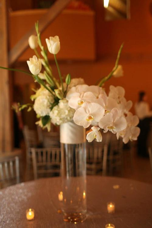 Spring Wedding at the Botanical Garden Tall White Centerpiece, Rose of Sharon Floral Designs, Fayetteville, AR