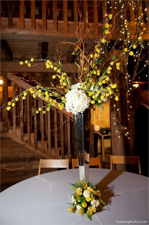 Yellow Spring Wedding Centerpiece at Pratt Place, Rose of Sharon Floral Designs, Fayetteville, AR