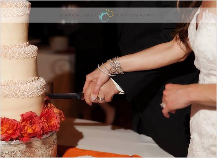 Spring Wedding at the Crescent Hotel Orange Cake Accent, Rose of Sharon Floral Designs, Fayetteville, AR