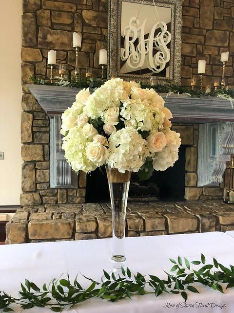 Roses, Garden Roses, & Hydrangea Tall Centerpiece